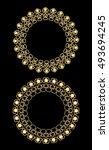 golden filigree circle frames ... | Shutterstock .eps vector #493694245
