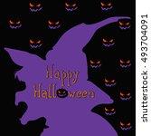 happy halloween. vector image... | Shutterstock .eps vector #493704091