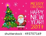 cute card with santa claus ... | Shutterstock .eps vector #493707169