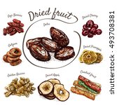 dried fruits colorful... | Shutterstock .eps vector #493708381