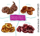 dried fruits colorful... | Shutterstock .eps vector #493708435
