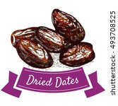 dried dates colorful... | Shutterstock .eps vector #493708525
