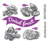 dried fruit illustration.... | Shutterstock .eps vector #493708534