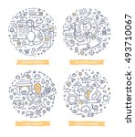 doodle vector illustrations of... | Shutterstock .eps vector #493710067
