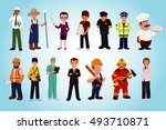 cartoon profession and... | Shutterstock .eps vector #493710871