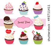colorful and different cupcakes ... | Shutterstock .eps vector #493711411