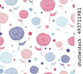 seamless flower pink blue... | Shutterstock .eps vector #493711981