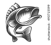 monochrome fish bass logo on... | Shutterstock .eps vector #493715599