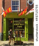 Small photo of NOTTINGHAM, ENGLAND - OCTOBER 3: Man dressed as Robin Hood outside 'The Robin Hood Legacy' visitor attraction. In Nottingham, England. On 3rd October 2016.