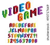 vector isometric pixel 3d... | Shutterstock .eps vector #493717669