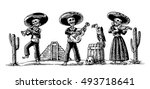 day of the dead dia de los... | Shutterstock .eps vector #493718641