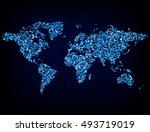 blue glitter world map  ... | Shutterstock .eps vector #493719019