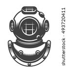 vintage nautical diving helmet... | Shutterstock . vector #493720411