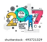 2017 happy new year trendy and... | Shutterstock . vector #493721329