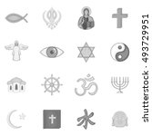 religion symbols icons set in... | Shutterstock . vector #493729951