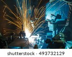welding robots movement in a... | Shutterstock . vector #493732129