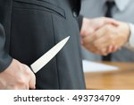 Small photo of Blackmail concept, Business handshake and doing agreement