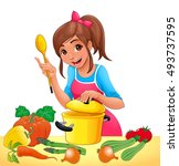 girl is cooking with several... | Shutterstock .eps vector #493737595