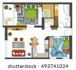 colorful floor plan of modern... | Shutterstock .eps vector #493741024