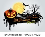 halloween party greeting card.... | Shutterstock .eps vector #493747429