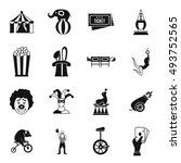 circus entertainment icons set... | Shutterstock . vector #493752565