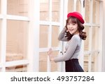 a portrait of cute asian woman... | Shutterstock . vector #493757284