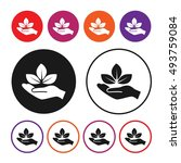 hand holds leaves icon. eco... | Shutterstock .eps vector #493759084