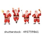 set of santa claus cartoon... | Shutterstock .eps vector #493759861