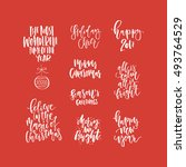 christmas lettering collection. ... | Shutterstock .eps vector #493764529