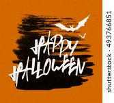 happy halloween text banner | Shutterstock .eps vector #493766851