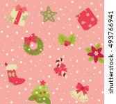 christmas pattern. vector... | Shutterstock .eps vector #493766941