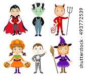 set of children in halloween... | Shutterstock .eps vector #493772539