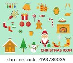 christmas icons  elements and... | Shutterstock .eps vector #493780039