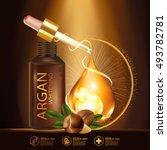argan oil serum skin care... | Shutterstock .eps vector #493782781