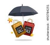 autumn sale  umbrella and... | Shutterstock .eps vector #493784251