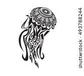 jellyfish tattoo in maori style.... | Shutterstock .eps vector #493788244