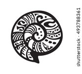 shell tattoo in maori style.... | Shutterstock .eps vector #493788361