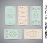 set of vintage luxury greeting... | Shutterstock .eps vector #493790461