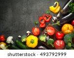 food background. fresh farmer... | Shutterstock . vector #493792999