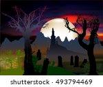 halloween dark scary landscape...   Shutterstock .eps vector #493794469
