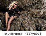 beautiful blond hair sexy woman ...   Shutterstock . vector #493798015