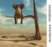 elephant stands on thin branch... | Shutterstock . vector #493803424