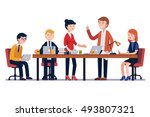 business man meeting at a big... | Shutterstock .eps vector #493807321