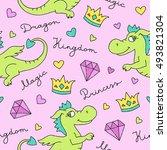 vector seamless pattern of cute ... | Shutterstock .eps vector #493821304