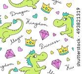 vector seamless pattern of cute ... | Shutterstock .eps vector #493821319