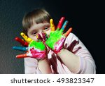 cute little kid with painted... | Shutterstock . vector #493823347