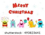 merry christmas monsters | Shutterstock .eps vector #493823641