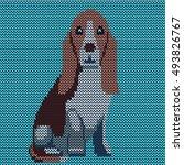 vector knitted dog pattern....   Shutterstock .eps vector #493826767