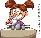 cartoon girl brushing her teeth.... | Shutterstock .eps vector #493833319