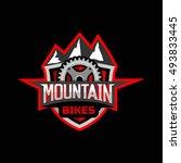 mountain bikes logo emblem... | Shutterstock .eps vector #493833445